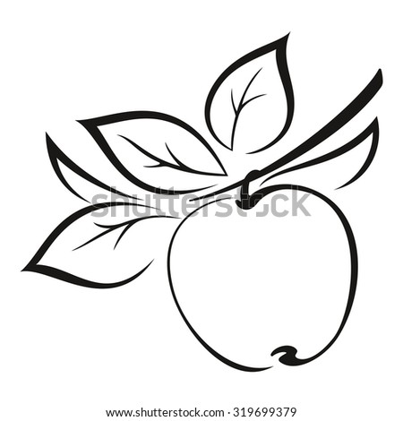 Symbolical Fruit, Apple on a Branch with Leaves Monochrome Black Pictogram Isolated on White Background. Vector