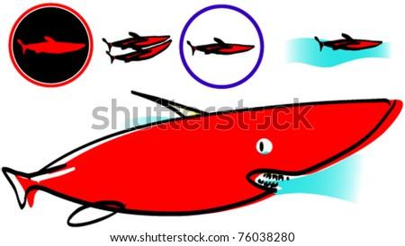 Symbols Cartoon Character Red Shark Stock Vector 76038280 Shutterstock