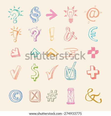 Symbols collection. Big vector set. Hand drawn. Questions and answers, shooters, number, idea, paragraph, copyright, dollar, euro, tick, at, cross - stock vector