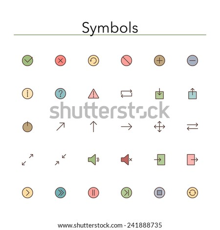 Symbols colored line icons set. Vector illustration. - stock vector