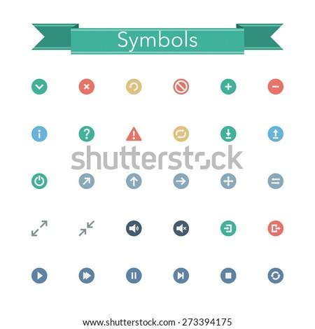 Symbols flat isons set. Vector illustration. - stock vector