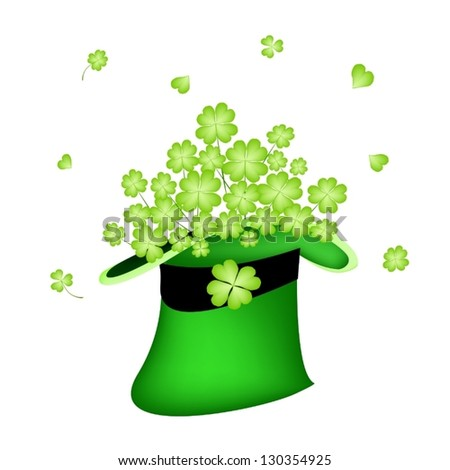 Symbols for Fortune and Luck, An Illustration of Fresh Green Four Leaf Clover Plants or Shamrock in Saint Patrick's Hat - stock vector