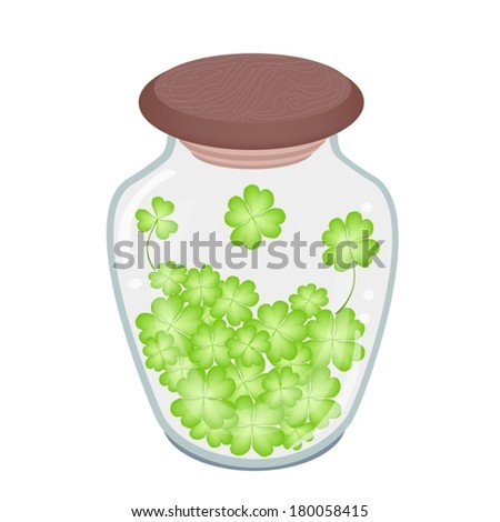 Symbols for Fortune and Luck, Vector Illustration of Fresh Four Leaf Clover Plants or Shamrock in Glass Jar for St. Patricks Day Celebration.  - stock vector