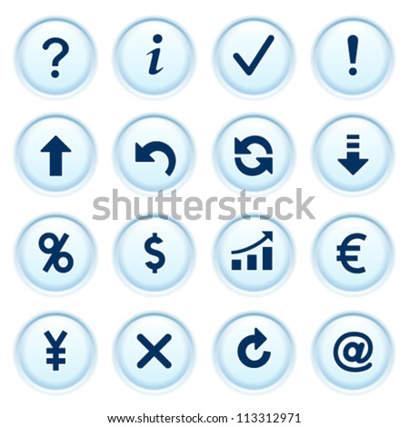 Symbols for web on blue buttons. - stock vector