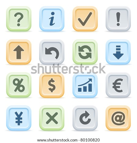 Symbols for web on color buttons. - stock vector