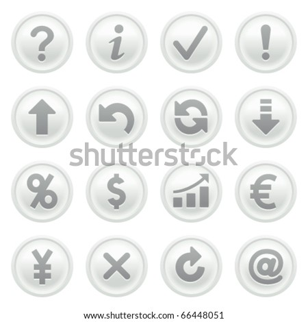 Symbols for web on gray buttons. - stock vector