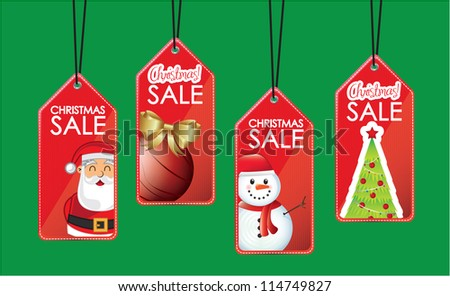 symbols hanging sales christmas over green background