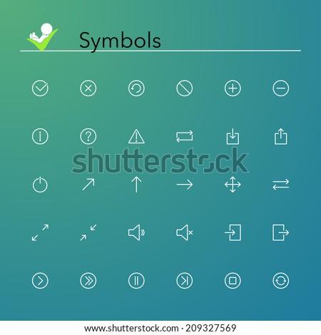 Symbols line Icons set. Vector illustration. - stock vector
