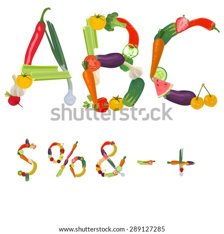 Symbols made of fruits and vegetables - stock vector