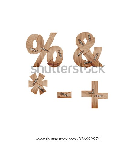 Symbols made of wood bars connected with metal plates