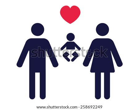 symbols of a man, woman, baby and love as a pictogram of a family - stock vector
