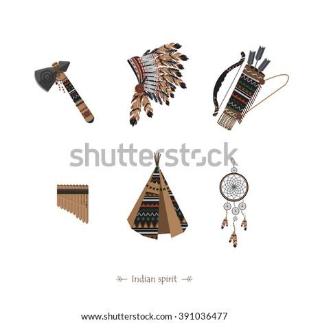 Symbols American Indians Native Americans Dream Stock Vector