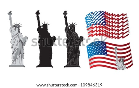 symbols of American patriotism with the Statue of Liberty - stock vector