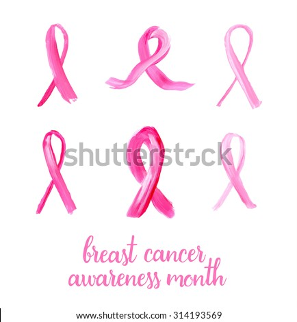 Symbols of breast cancer awareness. Pink ribbons in brush strokes - vector illustration.