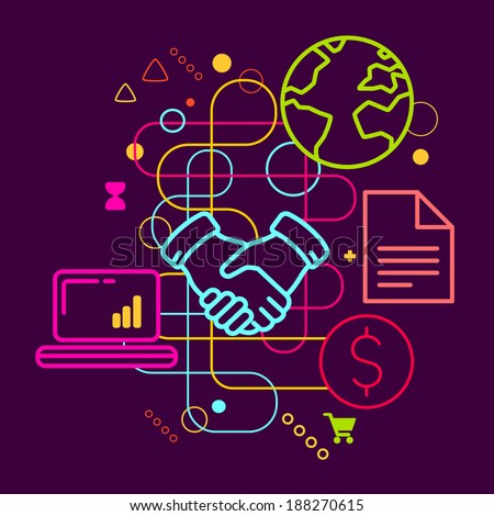 Symbols of business meetings and cooperation on abstract colorful dark background with different icons and elements. Line art. - stock vector