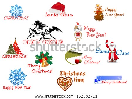 Symbols of Christmas and New Year for holiday design. Jpeg version also available in gallery - stock vector