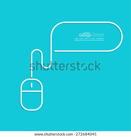 Symbols of computer mouse with cable. speech bubble. Outline - stock vector