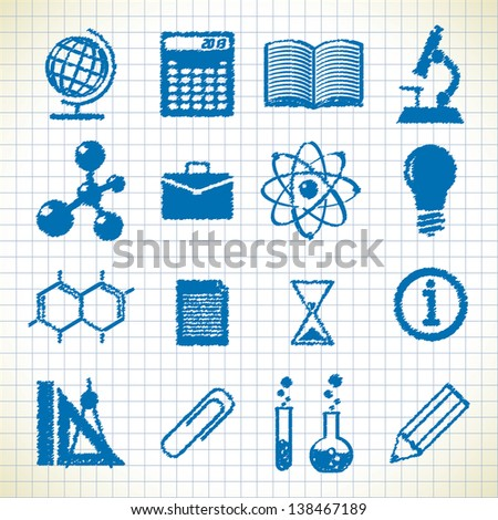 symbols of education. icons in the style of the sketch. eps8 - stock vector