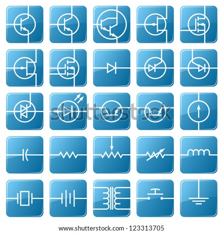 Symbols of electronic components are shown in the picture. - stock vector
