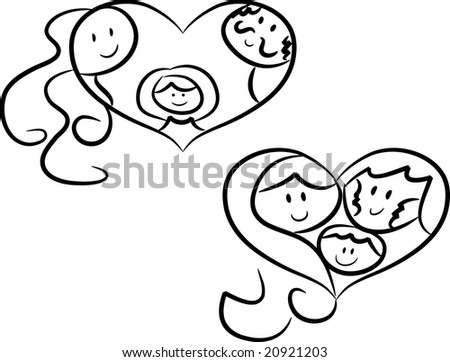 Symbols Family Love Heartshaped Symbolsicons Showing Stock Vector Hd