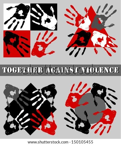 Symbols of fight against violence. - stock vector