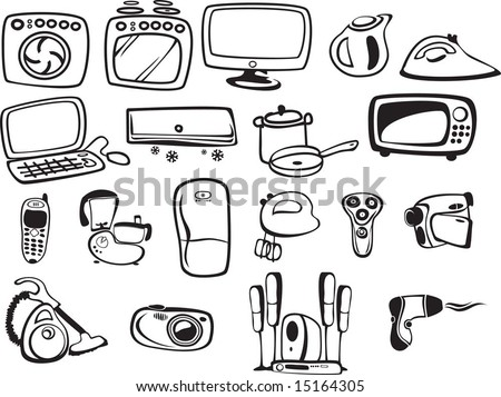 symbols of household appliances and electronics - stock vector
