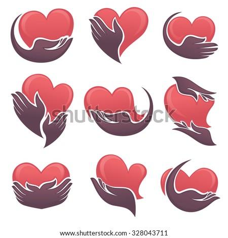 symbols of human's hands and hearts symbols - stock vector