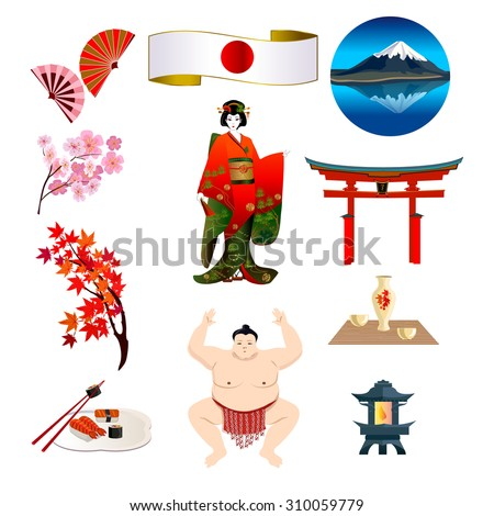 Symbols of Japan: Japanese flag, a geisha in a kimono, Mount Fuji, Japan's national food and others. - stock vector