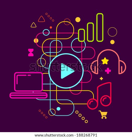 Symbols of listening to music on the computer on abstract colorful dark background with different icons and elements. Line art. - stock vector