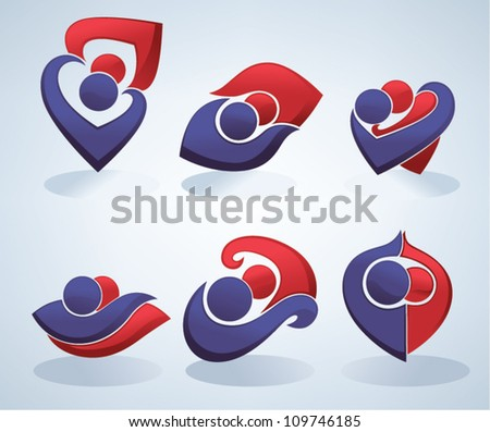 symbols of love, vector collection of icons and emblems - stock vector
