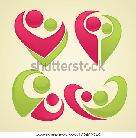 symbols of love, vector collection of signs and emblems - stock vector