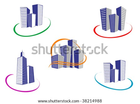 Symbols of modern and ancient buildings - abstract emblem or logo template. Jpeg version also available - stock vector