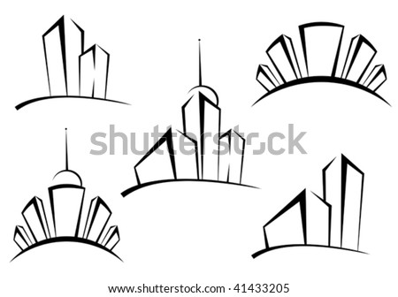 Symbols of modern buildings for design as a real estate concept - abstract emblem or logo template. Jpeg version also available - stock vector