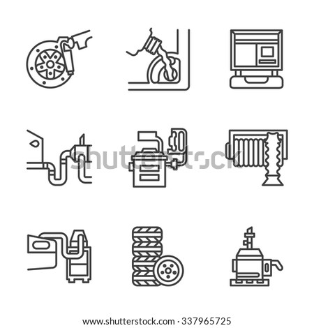 Symbols of service for automobile. Repair shop, car functional testing. Flat black line style vector icons set.  Design elements for website or mobile app. - stock vector