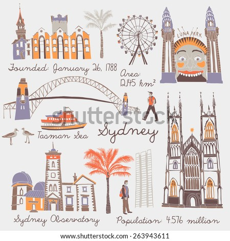 Symbols of Sydney - stock vector
