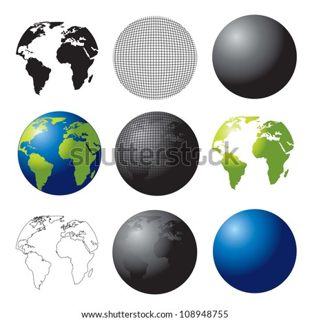 symbols of the planet from different perceptions - stock vector