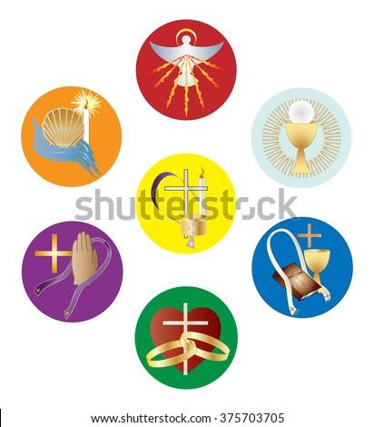 Symbols Seven Sacraments Catholic Church Color Stock Vector ...