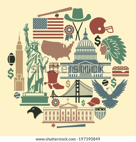 Symbols of the USA in the form of a circle - stock vector
