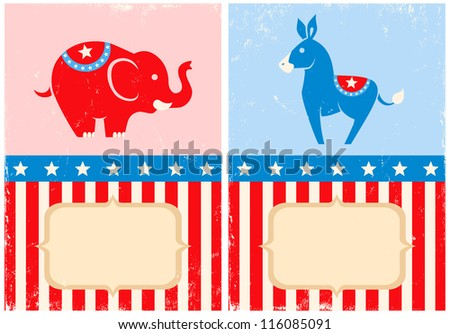 Symbols of U.S. Democratic and Republican parties - stock vector