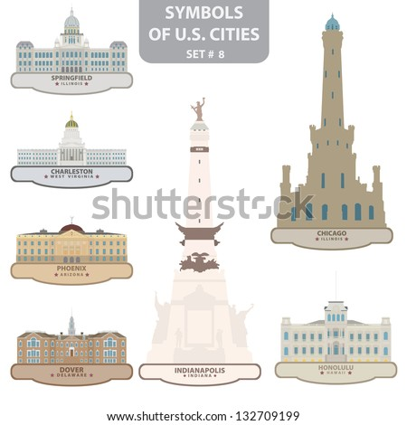 Symbols of US cities. Set 8. Vector for you design - stock vector