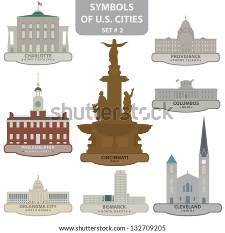 Symbols of US cities. Set 2. Vector for you design - stock vector