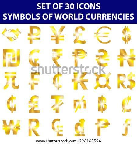 Symbols World Currencies Set 30 Golden Stock Vector 296165594