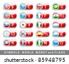 symbols of world money and flags - stock vector