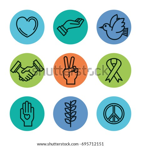 Symbols Peace International Peace Day Icons Stock Vector 695712151