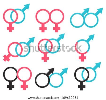 Symbols relations between man and woman - stock vector