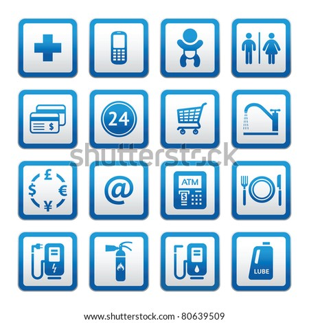 Symbols Roadside services. Signs set car services. Gas station. - stock vector