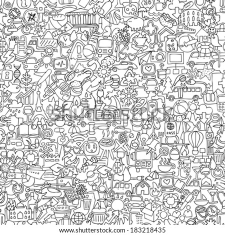 Symbols seamless pattern in black and white (repeated) with mini doodle drawings (icons). Illustration is in eps8 vector mode. - stock vector