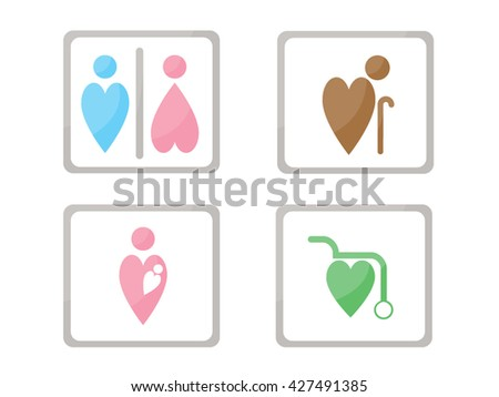 symbols set for toilet, washroom, restroom, lavatory. : body inspiration heart shape  - stock vector