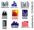 Symbols with city - can be used for real estate development, housebuilding - stock photo