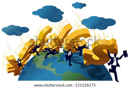 Symbols Yuan, Yen, Dollar, Pound, Euro falling like a domino on a globe. - stock vector